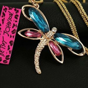Dragonfly Pendant Necklace Crystal Betsey Johnson